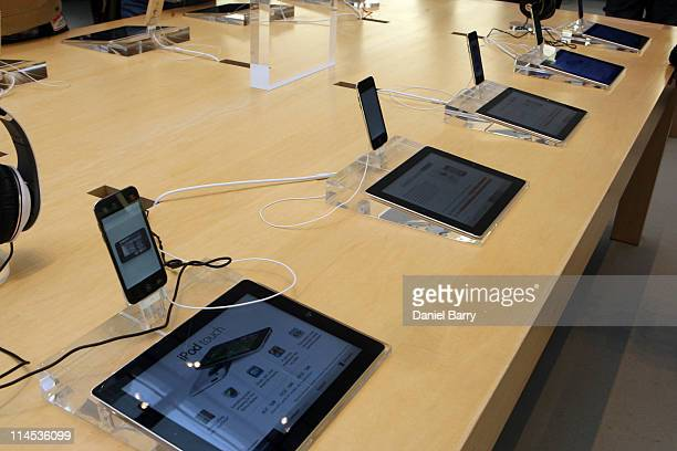 Products are displayed above Smart Signs inside an Apple Store May 23 2011 in New York City Smart Signs allow customers to research the product they...