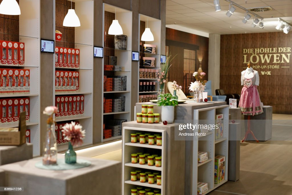 Products are displayed at the temporary 'Die Hoehle der Loewen' pop-up-store on August 22, 2017 in Cologne, Germany.