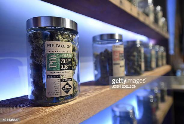 Products are displayed for sale at Oregon's Finest a marijuana dispensary in Portland Oregon on October 4 2015 As of October 12015 limited amounts of...
