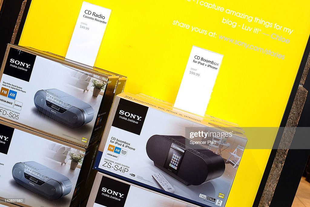 Products are viewed for sale at the Sony store on April 10, 2012 in New York City. Sony, the Japanese electronics company, has more than doubled its projected net loss for the past financial year to ´520 billion, the equivalent to $6.4 billion, its worst loss ever.