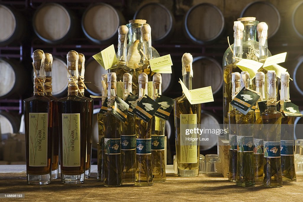 Products for sale in cellar of Bodegues Santa Catarina Winery. : Stock Photo