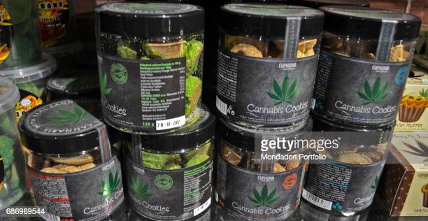 Products mad of Cannabis sativa sold in shop in Amsterdam among them biscuits sweets and chocolate Amsterdam 7th December 2016
