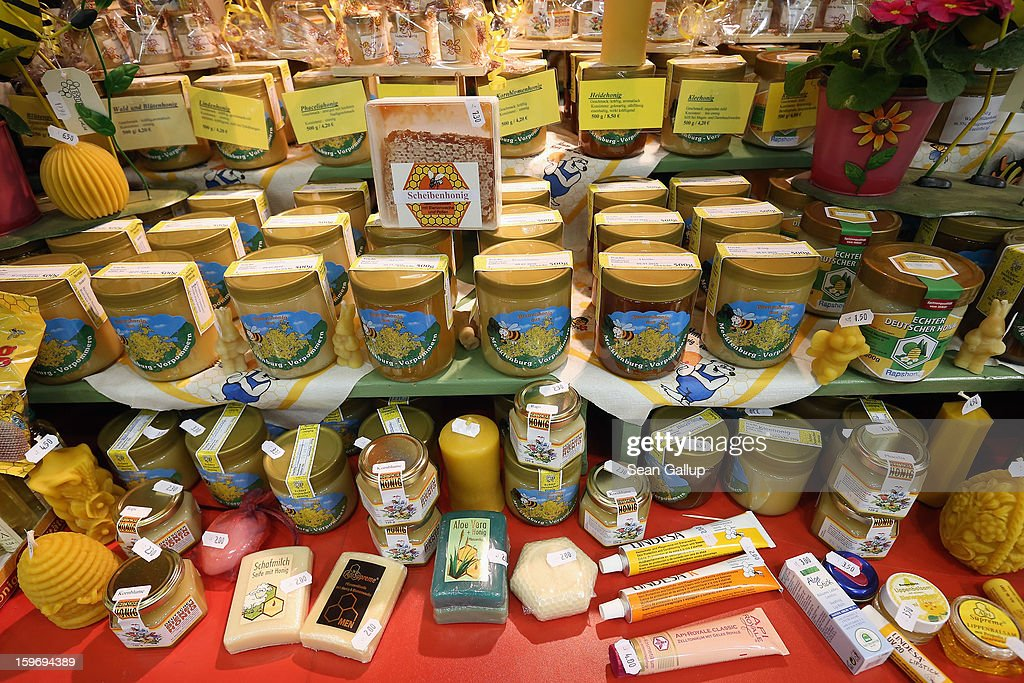 Products made from honey lie on display at a stand at the 2013 Gruene Woche agricultural trade fair on January 18, 2013 in Berlin, Germany. The Gruene Woche, which is the world's largest agricultural trade fair, runs from January 18-27, and this year's partner country is Holland.