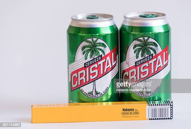 Products made in Cuba Cohiba cigar and Cristal beer cans together showing the most popular brands in their product category Cristal brand is the most...