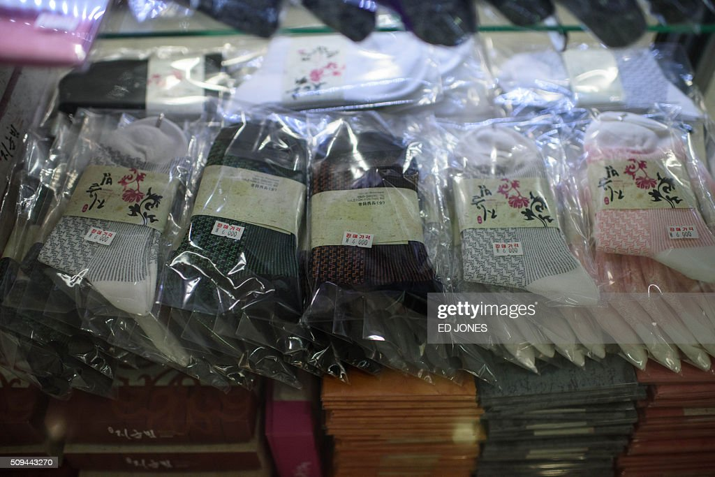 Products made in the Kaesong joint industrial zone are displayed for sale in the CIQ immigration centre checkpoint leading to the area, at the CIQ immigration checkpoint in Paju on February 11, 2016. South Korea said it would suspend operations at the Kaesong joint industrial complex in North Korea to punish Pyongyang for its latest rocket launch and nuclear test. AFP PHOTO / Ed Jones / AFP / ED JONES