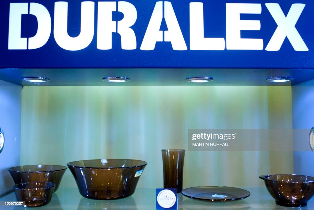 Products of French manufacturer of glassware Duralex, are displayed in a showroom, on November 26, 2012 in La Chapelle-Saint-Mesmin. AFP PHOTO MARTIN BUREAU