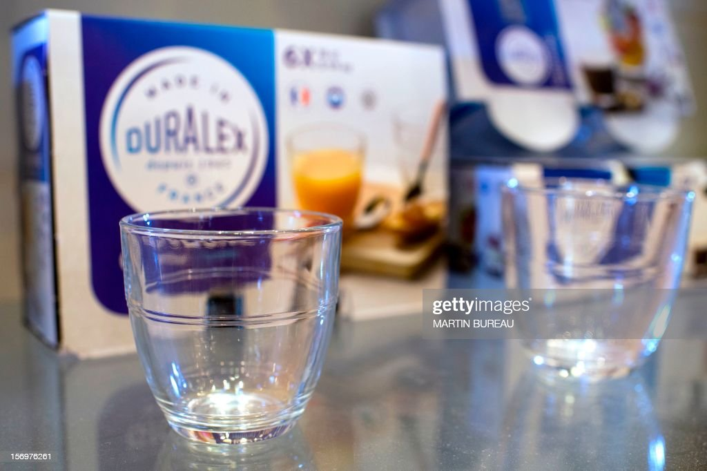Products of French manufacturer of glassware Duralex are displayed in a showroom, on November 26, 2012 in La Chapelle-Saint-Mesmin.