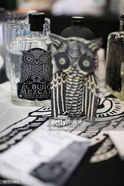 Products on display at the El Buho Mezcal station at the Grand Tasting presented by ShopRite featuring KitchenAid® culinary demonstrations presented...