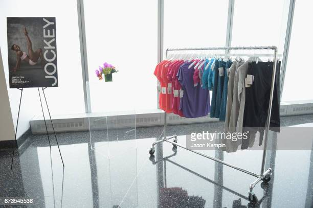 Products on display at the Jockey 'Show'Em What's Underneath Show'Em Your Jockey' Event in NYC at One World Observatory on April 26 2017 in New York...