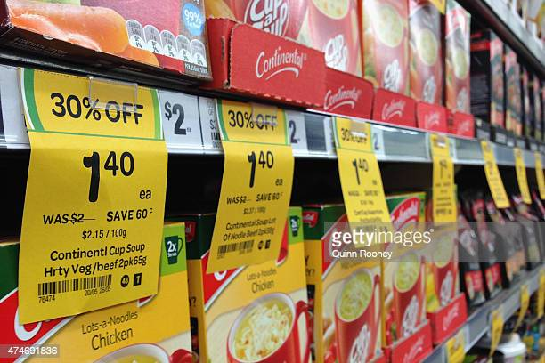 Products on display at Woolworths supermarket on May 25 2015 in Melbourne Australia In a bid to regain its title as Australia's distinguished...