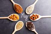 Products rich in magnesium on wooden spoons on black stone background.