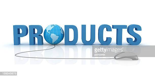 Products Text with Earth Globe and Computer Mouse