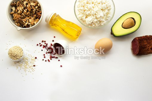 Products that can be eaten with a ketogenic diet., low carb, high good fat. Concept keto diet for health and weight loss. Top view, copy space for text, flat lay : Stock Photo