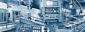 Produktion in der Industrie mit verschiedenen Maschinen