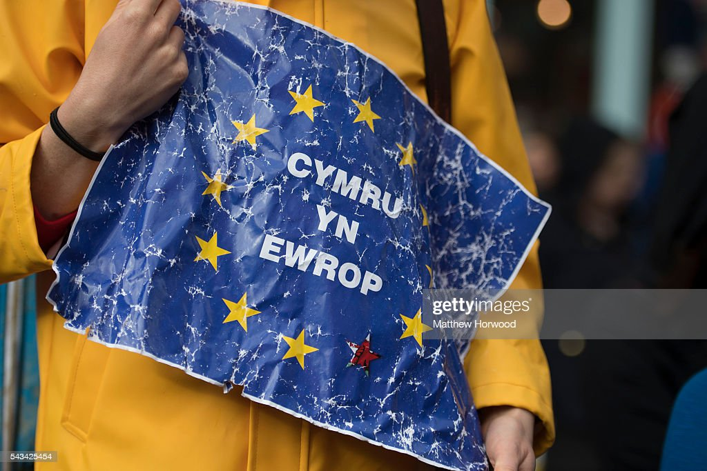 A pro-EU sign is seen during an anti-Brexit rally on June 28, 2016 on the Hayes in Cardiff, Wales. The protest is at a time of economic and political uncertainty following the referendum result last week, which saw the UK vote to leave the European Union.