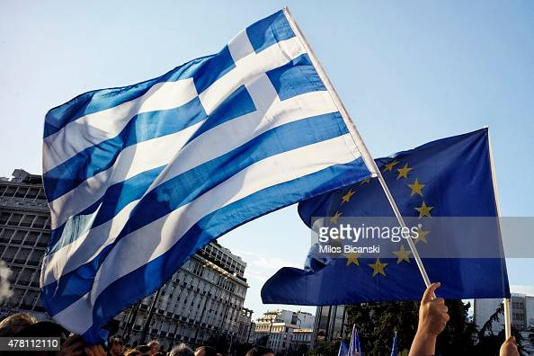 ProEuro protesters take part in a rally in front of the Parliament on June 22 2015 in Athens Greece Thousends of people attended the rally in support...
