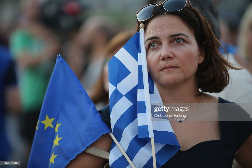 Proeuropean greeks converge on Syntagma Square to show their support for the euro on July 9 2015 in Athens Greece The Greek government has only hours...