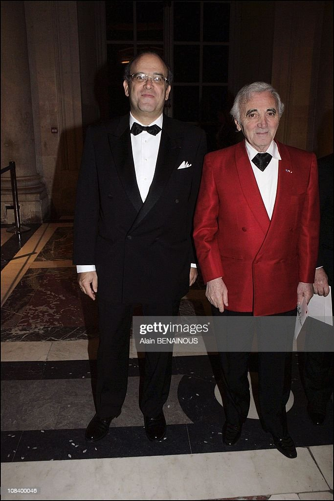 Prof David Khayat and Charles Aznavour in Versailles France on January 31 2005