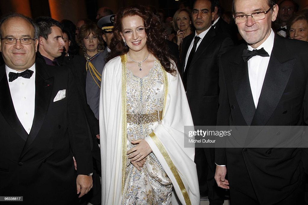 Prof David Khayat Princesse Lalla Salma of Morocco and Jean Jacques Aillagon attend the Gala Dinner for Association AVEC at Chateau de Versailles on...