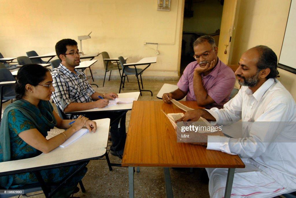 Prof Malhar Kulkarni with Prof Ramsubramanian at the Sanskrit cell of IIT Mumbai.