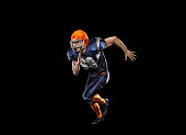 Professional american football player in action isolated on the black background