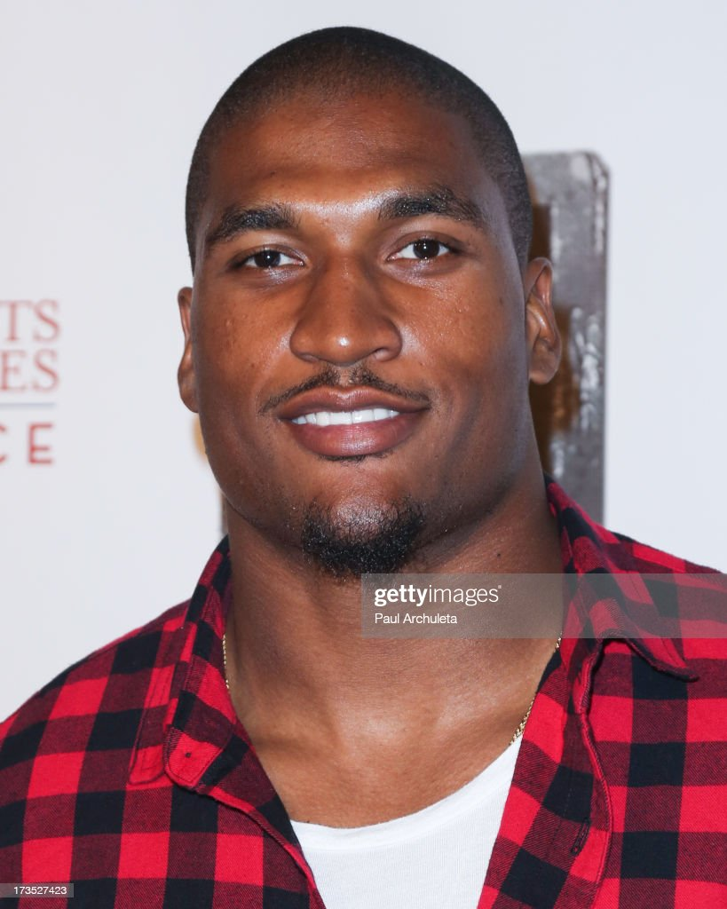 Professional Athlete Larry English attends the 8th annual BTE AllStar Celebrity Kickoff Party at The Playboy Mansion on July 15 2013 in Beverly Hills...