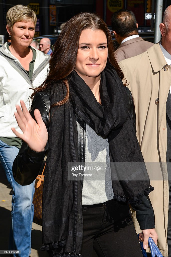 Professional auto racing driver Danica Patrick leaves the 'Good Morning America' taping at the ABC Times Square Studios on April 25, 2013 in New York City.