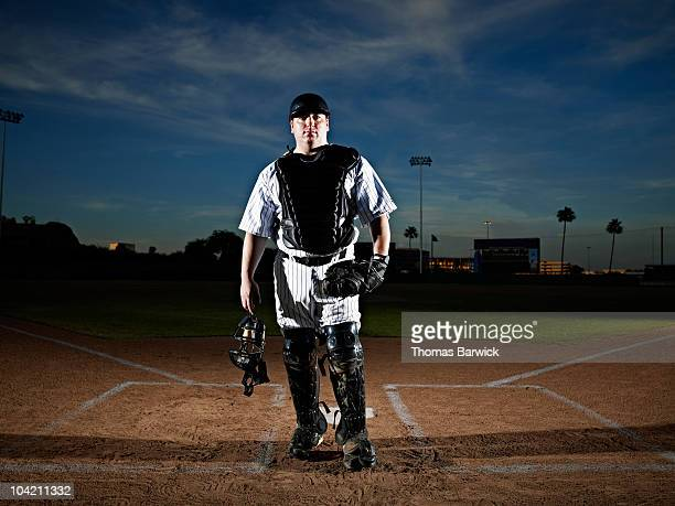 Professional baseball catcher at home plate