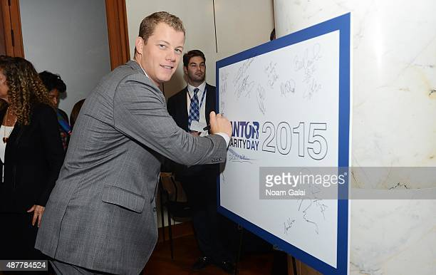 Professional baseball player Andrew Bailey attends the annual Charity Day hosted by Cantor Fitzgerald and BGC at Cantor Fitzgerald on September 11...