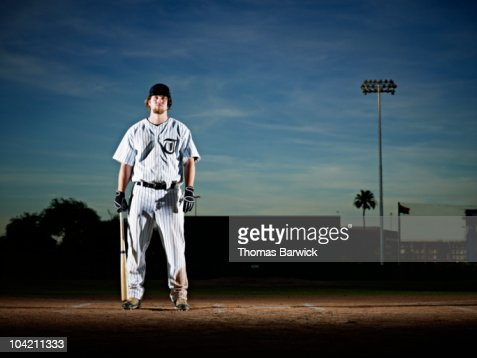 Professional baseball player at home plate : Stock Photo