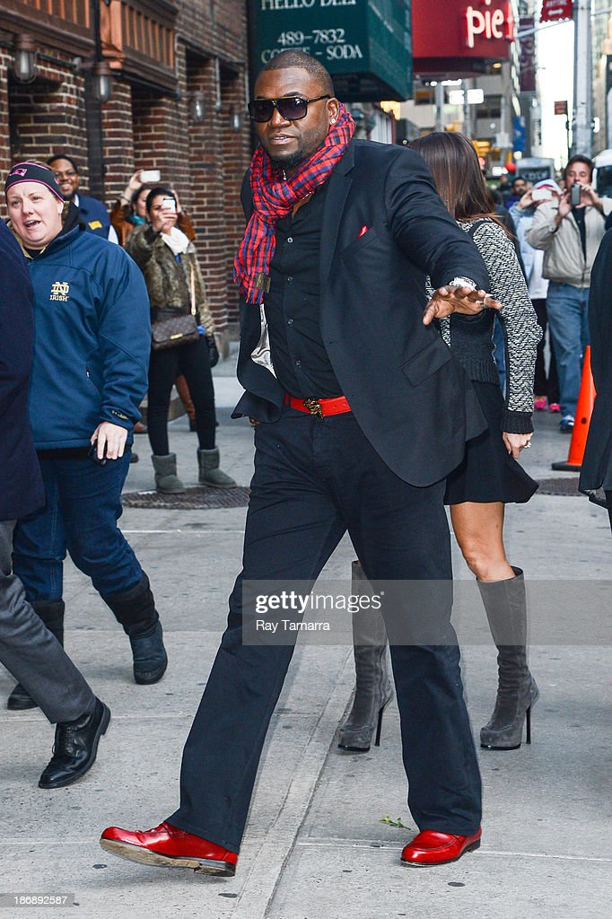 Professional baseball player David Ortiz enters the 'Late Show With David Letterman' at the Ed Sullivan Theater on November 4, 2013 in New York City.