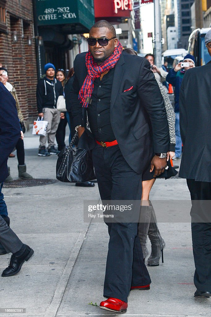 Professional baseball player <a gi-track='captionPersonalityLinkClicked' href=/galleries/search?phrase=David+Ortiz&family=editorial&specificpeople=175825 ng-click='$event.stopPropagation()'>David Ortiz</a> enters the 'Late Show With David Letterman' at the Ed Sullivan Theater on November 4, 2013 in New York City.