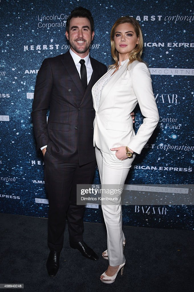 Professional baseball player Justin Verlander and model Kate Upton attend 2014 Women's Leadership Award Honoring Stella McCartney at Alice Tully Hall at Lincoln Center on November 13, 2014 in New York City.