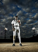 Professional baseball player standing on field