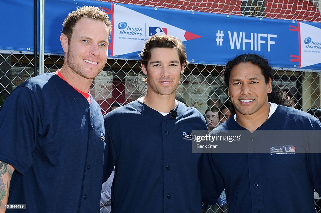 Professional baseball player's Josh Hamilton and CJ Wilson and professional football player <a gi-track='captionPersonalityLinkClicked' href=/galleries/search?phrase=Troy+Polamalu&family=editorial&specificpeople=206488 ng-click='$event.stopPropagation()'>Troy Polamalu</a> participate in Head & Shoulders 'Whiff-A-Thon' benefiting MLB's Reviving Baseball in Inner Cities Program at The Grove on March 29, 2013 in Los Angeles, California.