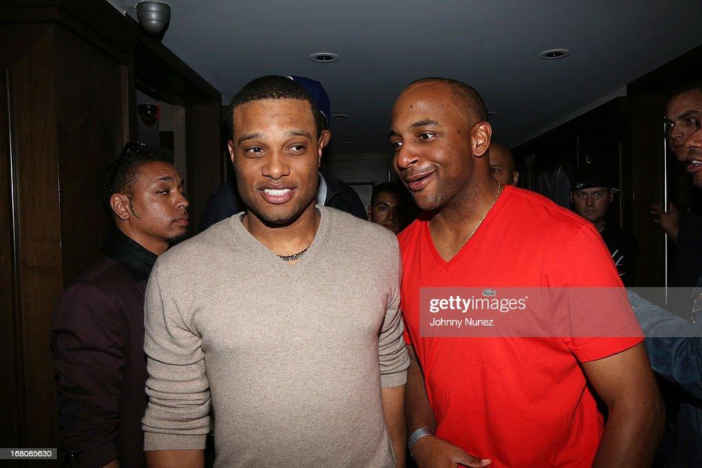 Professional baseball players <a gi-track='captionPersonalityLinkClicked' href=/galleries/search?phrase=Robinson+Cano&family=editorial&specificpeople=538362 ng-click='$event.stopPropagation()'>Robinson Cano</a> and <a gi-track='captionPersonalityLinkClicked' href=/galleries/search?phrase=Ben+Francisco&family=editorial&specificpeople=836205 ng-click='$event.stopPropagation()'>Ben Francisco</a> attend the Rihanna After Party + Fight at the 40 / 40 Club on May 4, 2013, in New York City.