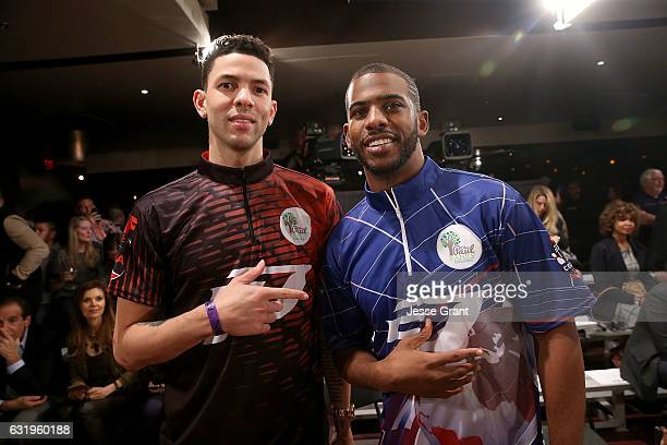 Professional basketbal players Austin Rivers and Chris Paul attend the State Farm Chris Paul PBA Celebrity Invitational held at Lucky Strike Lanes at...