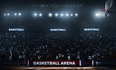 Professional basketball arena 3D rendering. Arena are full of fans.