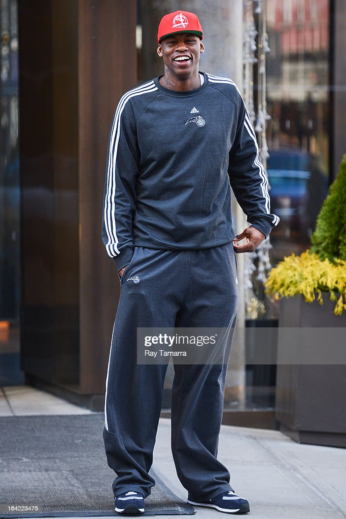 Professional basketball player <a gi-track='captionPersonalityLinkClicked' href=/galleries/search?phrase=Al+Harrington&family=editorial&specificpeople=201645 ng-click='$event.stopPropagation()'>Al Harrington</a> leaves his Soho hotel on March 20, 2013 in New York City.