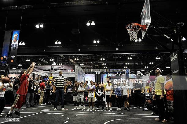 Professional basketball player Al Horford greets fans at TMobile NBA on 4G Interactive Space at Jam Session during NBA AllStar 2011 on on February 21...
