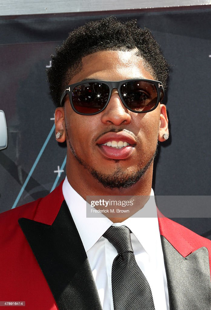 Professional basketball player <a gi-track='captionPersonalityLinkClicked' href=/galleries/search?phrase=Anthony+Davis+-+Basketball+Player&family=editorial&specificpeople=9539354 ng-click='$event.stopPropagation()'>Anthony Davis</a> attends the 2015 BET Awards at the Microsoft Theater on June 28, 2015 in Los Angeles, California.