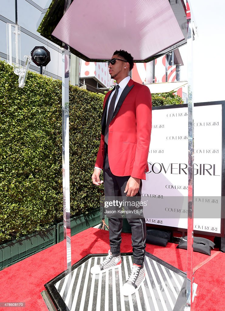 Professional basketball player Anthony Davis attends the Cover Girl Glam Stage during the 2015 BET Awards at the Microsoft Theater on June 28 2015 in...