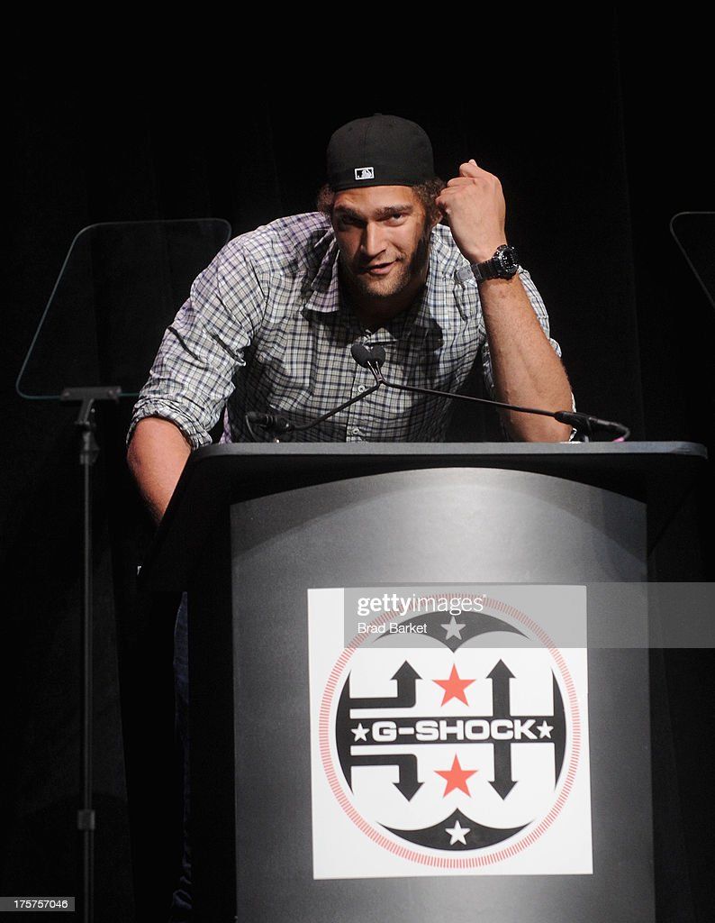 Professional Basketball Player Brook Lopez speaks on stage at GShock Shock The World 2013 at Basketball City on August 7 2013 in New York City