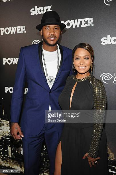Professional basketball player Carmelo Anthony and La La Anthony attend the Starz 'Power' premiere after party at Highline Ballroom on June 2 2014 in...