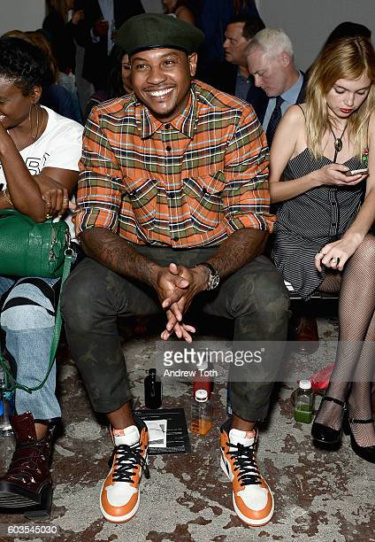 Professional Basketball Player Carmelo Anthony attends the Rag Bone fashion show during New York Fashion Week September 2016 at Skylight Clarkson...