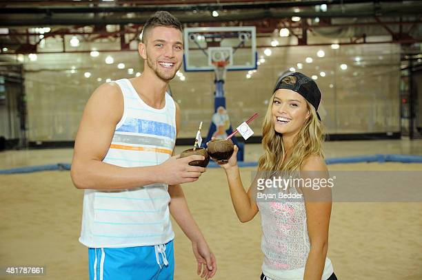 Professional basketball player Chandler Parsons and model Nina Agdal pose as Op Nina Agdal Chandler Parsons kick off Spring on March 31 2014 in New...
