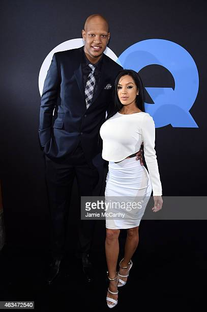 Professional basketball player Charlie Villanueva and Michelle Game attend GQ and LeBron James Celebrate AllStar Style on February 14 2015 in New...