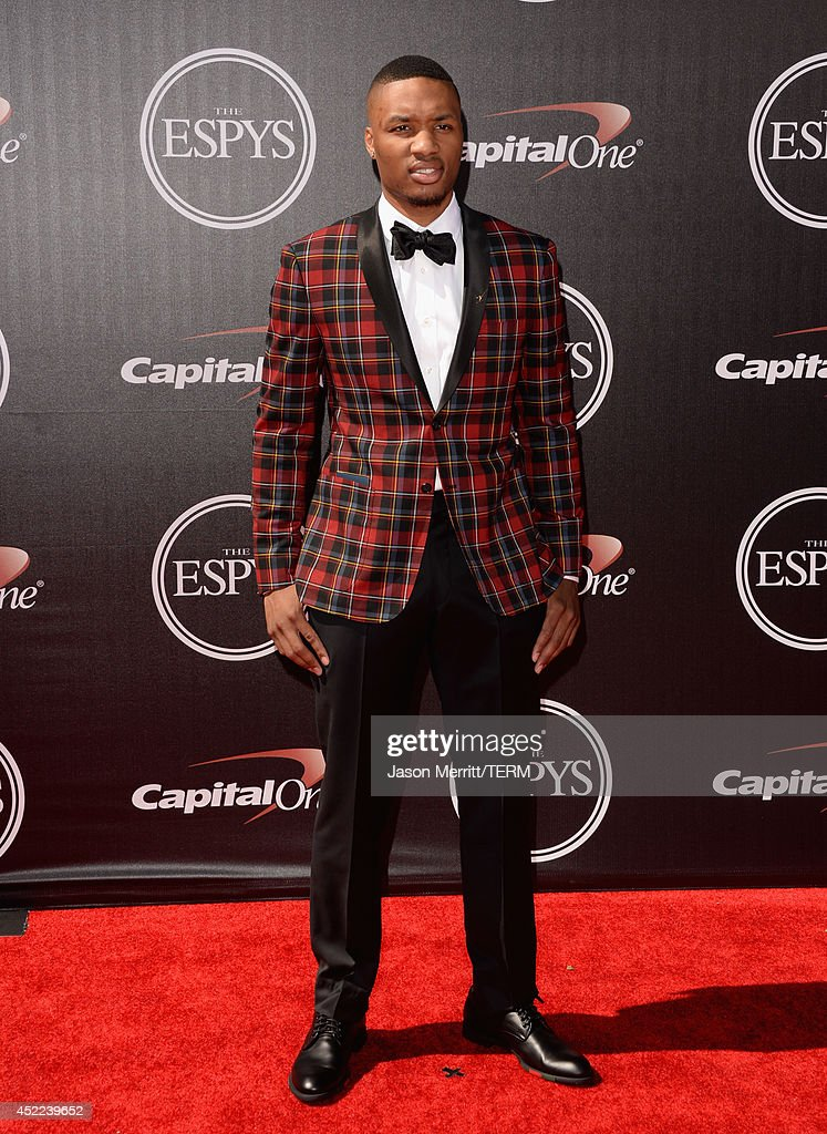 Professional basketball player <a gi-track='captionPersonalityLinkClicked' href=/galleries/search?phrase=Damian+Lillard&family=editorial&specificpeople=6598327 ng-click='$event.stopPropagation()'>Damian Lillard</a> attends The 2014 ESPYS at Nokia Theatre L.A. Live on July 16, 2014 in Los Angeles, California.