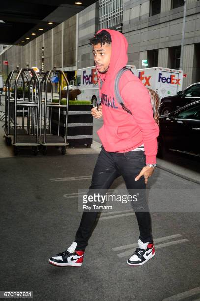 Professional basketball player D'Angelo Russell enters a Midtown Manhattan hotel on April 19 2017 in New York City