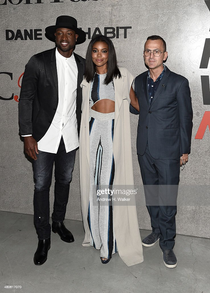 Professional Basketball Player Dwyane Wade actress Gabrielle Union and CFDA CEO Steven Kolb attend the opening event for New York Fashion Week Men's...